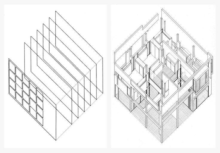 (1) Eisenman' axonometric analysis diagram of Terragni's Casa del Fascio: layering of frontal planes. (2) Eisenman's House II: a layered reading or interpretation; actual vs implied