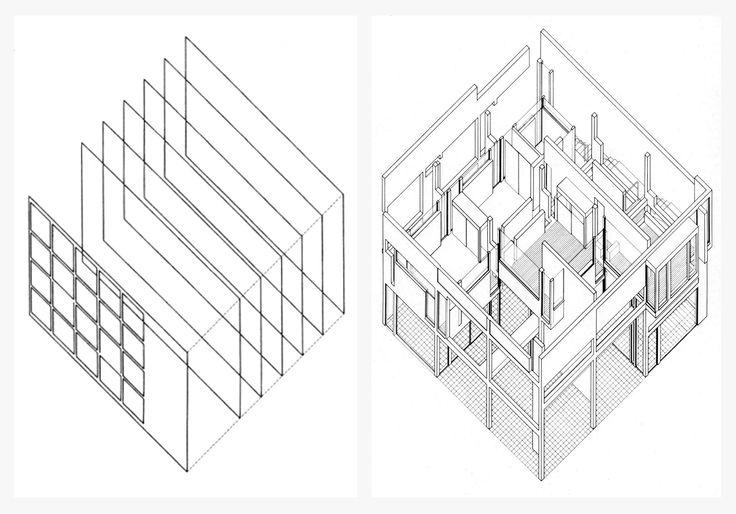 peter eisenman - axonometric analysis diagram of giuseppe terragni's casa del fascio