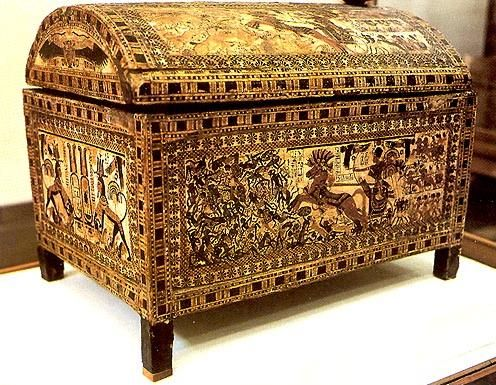 Egyptian decorated wooden hunting coffer from tomb of Tutankhamen