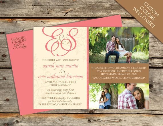 Monogram Floral Photo Wedding Invitation - A Printable Wedding Invitation Design
