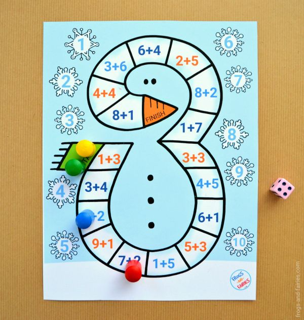 graphic regarding Addition and Subtraction Games Printable identify Snowman Addition towards 10 Board Activity Snow routines Math