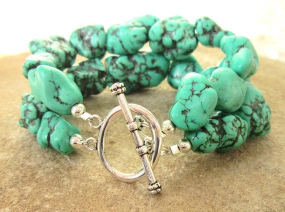 Chunky Turquoise Bracelet. Green Howlite Nugget Double Strand Toggle Bracelet. Turquoise Jewelry. $26.00, via Etsy.