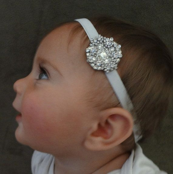 Baby girl christening headpiece, flower girl headband, baby headband, communion, baptism headband, flower girl headpiece on Etsy, $30.00