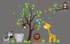 """Baby Nursery Wall Decals Safari Jungle Childrens Themed 83"""" X 138"""" (Inches) Animals Trees Monkey Elephant Giraffe Zebra Lions Wildlife Made of Seramark Material Repositional Removable Reusable by StickEmUpWallArt, http://www.amazon.com/dp/B009ZPMWTS/ref=cm_sw_r_pi_dp_93lcrb1CC8DF3"""