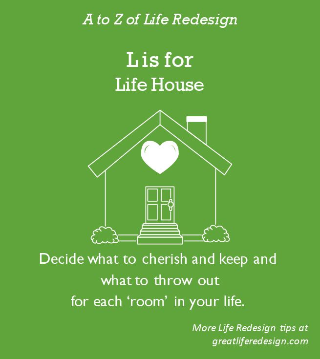 Home to the 10 key areas of your life.  Take a walk through each room. Consciously decide what to cherish and keep and what to put out for the next garbage collection.  http://greatliferedesign.com/the-book/