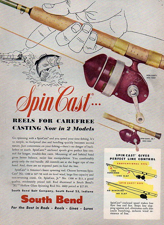 Vintage Spin Cast fishing reel ad www.lodgemonster.com
