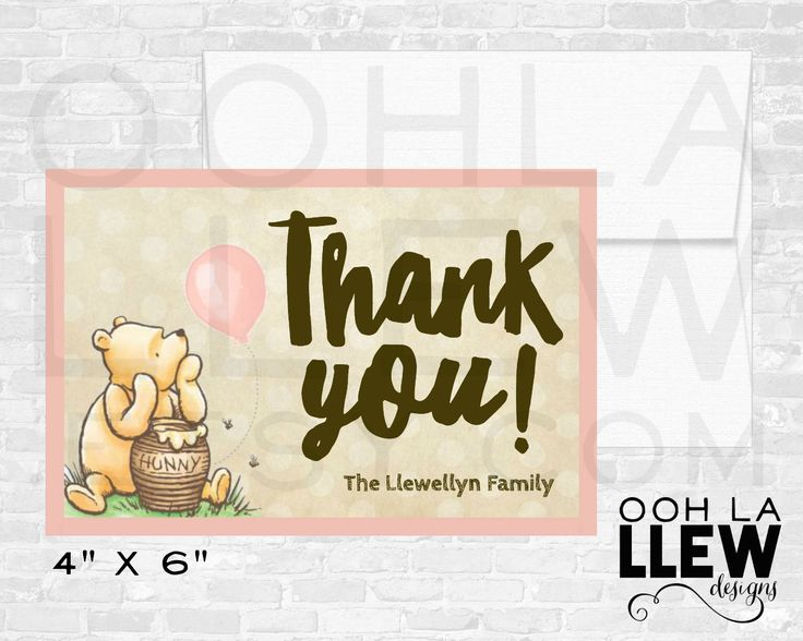Winnie the Pooh Thank You Card, Pooh Bear Thank You, Winnie the Pooh Party, Pooh Bear Birthday Party or Baby Shower Thank You Cards, Pooh by OohLaLlew on Etsy