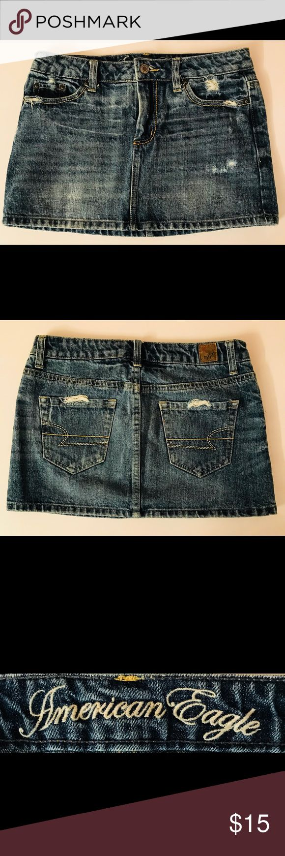 """American Eagle Jean Skirt Very cute American Eagle Jean Skirt. Low rise, zip up with button, 4 functional pockets. Like new, worn twice, no stains.   Measurements Size: 2  Length: 11""""  Waist:25.5 Hip 35""""  Material: 100% cotton American Eagle Outfitters Skirts Mini"""