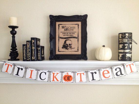 Trick or Treat Banner Happy Halloween Banner by ABannerAffair