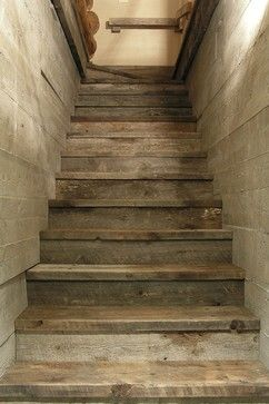 attic stairs in barn board