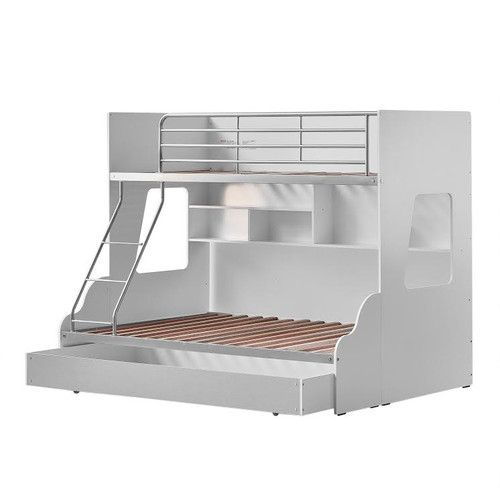 VIC Furniture White & Silver Single Over Double Trio Bunk Bed with Shelves & Trundle