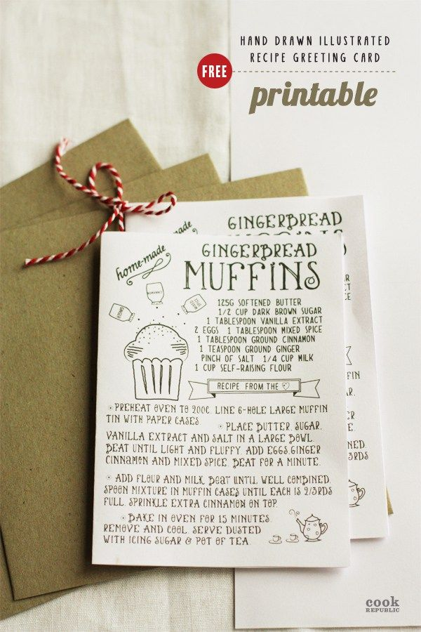 Free printable download of a hand drawn recipe greeting card for Christmas. Share some sweetness with this delightful gingerbread muffin recipe keepsake.