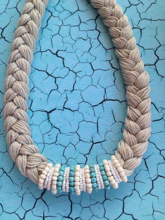 #RopeNecklace, #StatementNecklace, #BraidedNecklace, #TurquoiseBeads, #SummerNecklace