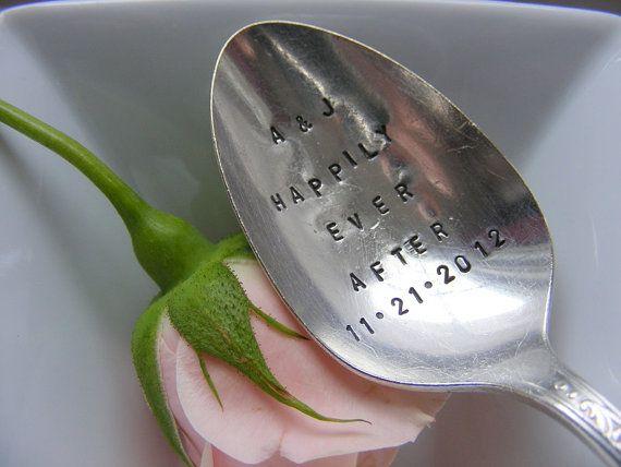 Hand Stamped Wedding Silverware Spoon Date by BabyPuppyDesigns, $12.00
