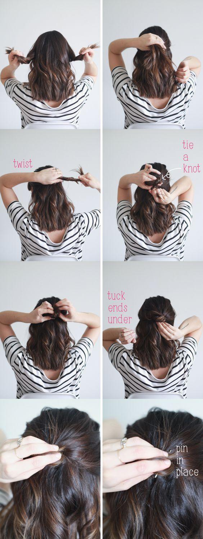 Half up Knot for Mid-length Hair via