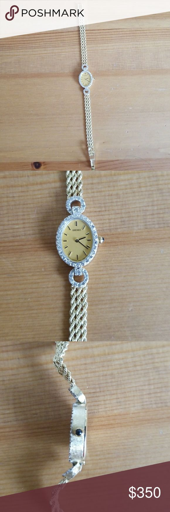 Seiko ladies 14k gold watch with diamonds. Beautiful Seiko ladies 14k gold watch with diamonds around the face.  Blue sapphire stone on the side.  Rarely worn in perfect condition. Seiko Accessories Watches