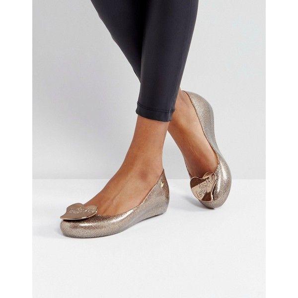 Vivienne Westwood For Melissa Ultragirl Love Gold Glitter Flat Shoes (224 CAD) ❤ liked on Polyvore featuring shoes, flats, gold, gold flats, gold glitter shoes, melissa shoes, glitter flats and flat peep-toe shoes