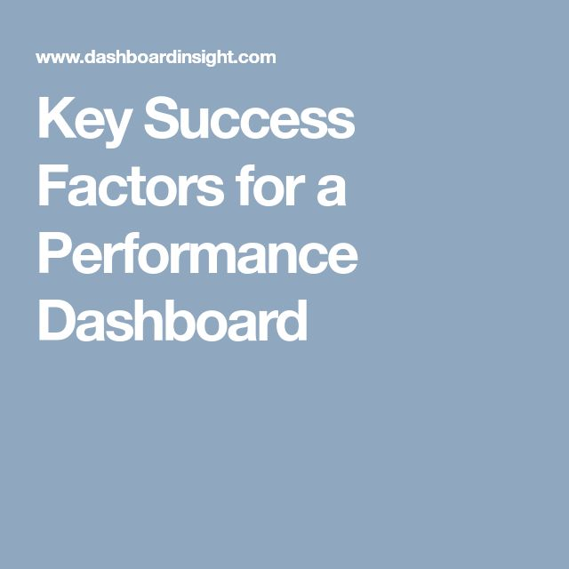 Key Success Factors for a Performance Dashboard