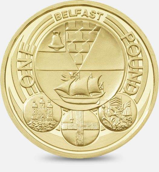 2010 £1 (One Pound) Coin featuring a depiction of the official badges of the capital cities of the United Kingdom, with the badge of Belfast being the principal focus #CoinHunt