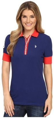U.S. POLO ASSN. Striped Placket Stretch Pique Polo Shirt - Shop for women's Shirt - Blue Depths Shirt