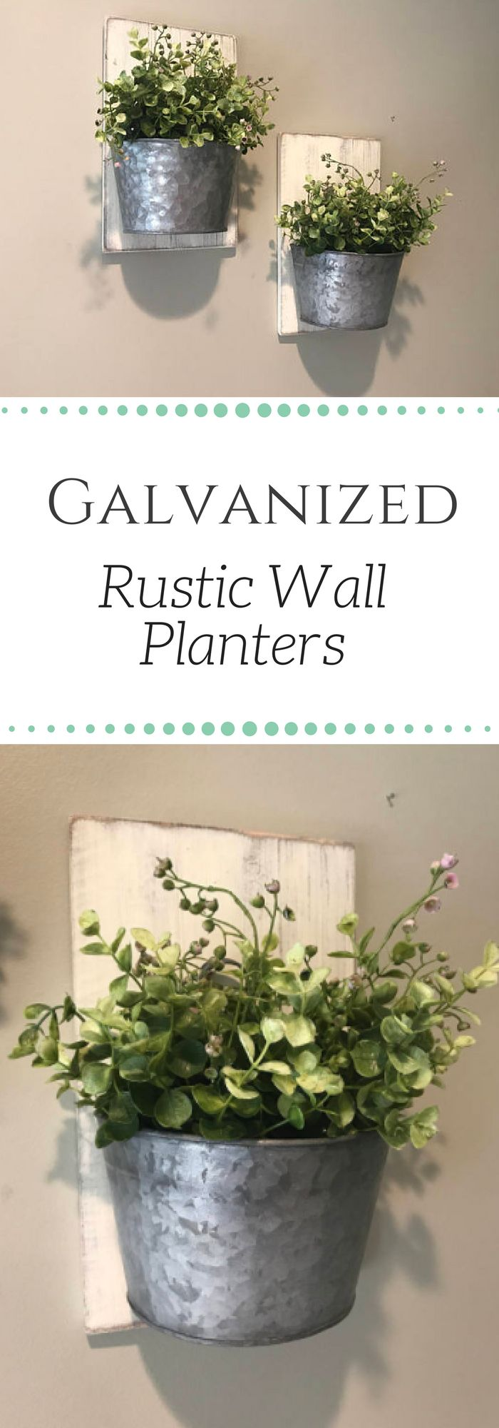 Beautiful Farmhouse, Rustic Style Galvanized Wall Planter. These rustic style wall planters would look great in any home going for a farmhouse, rustic, or vintage style look. Bringing the outdoors in! #farmhouse #homedecorating #walldecor #ad