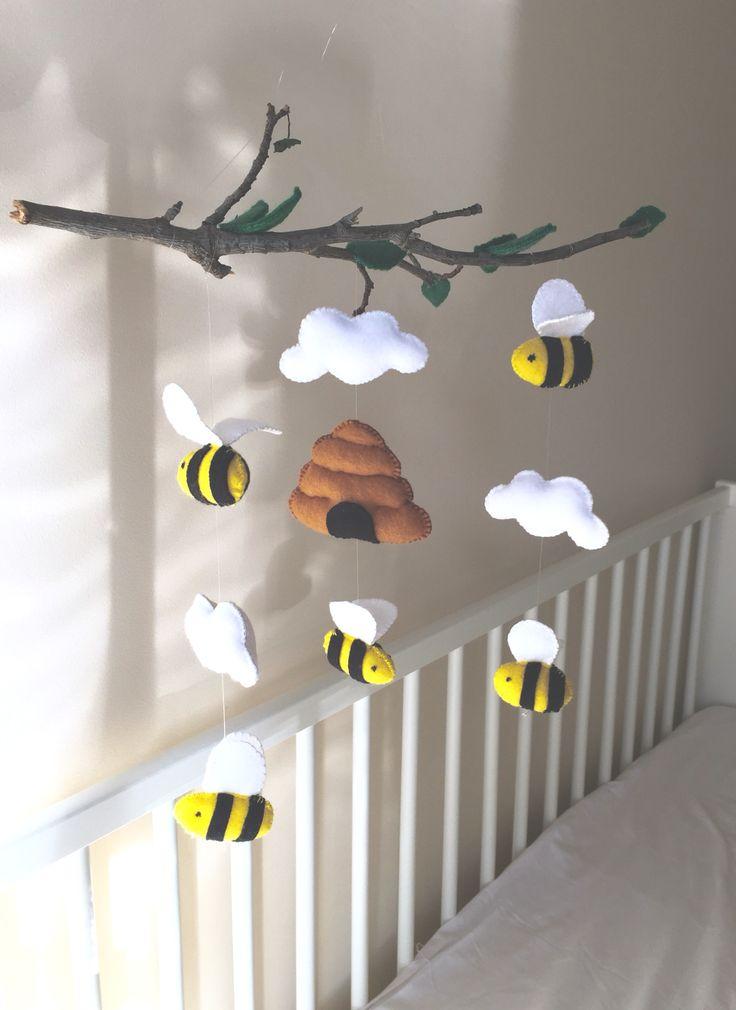 baby mobile nursery mobile bumble_bee_mobile bee_theme baby nursery cool bee