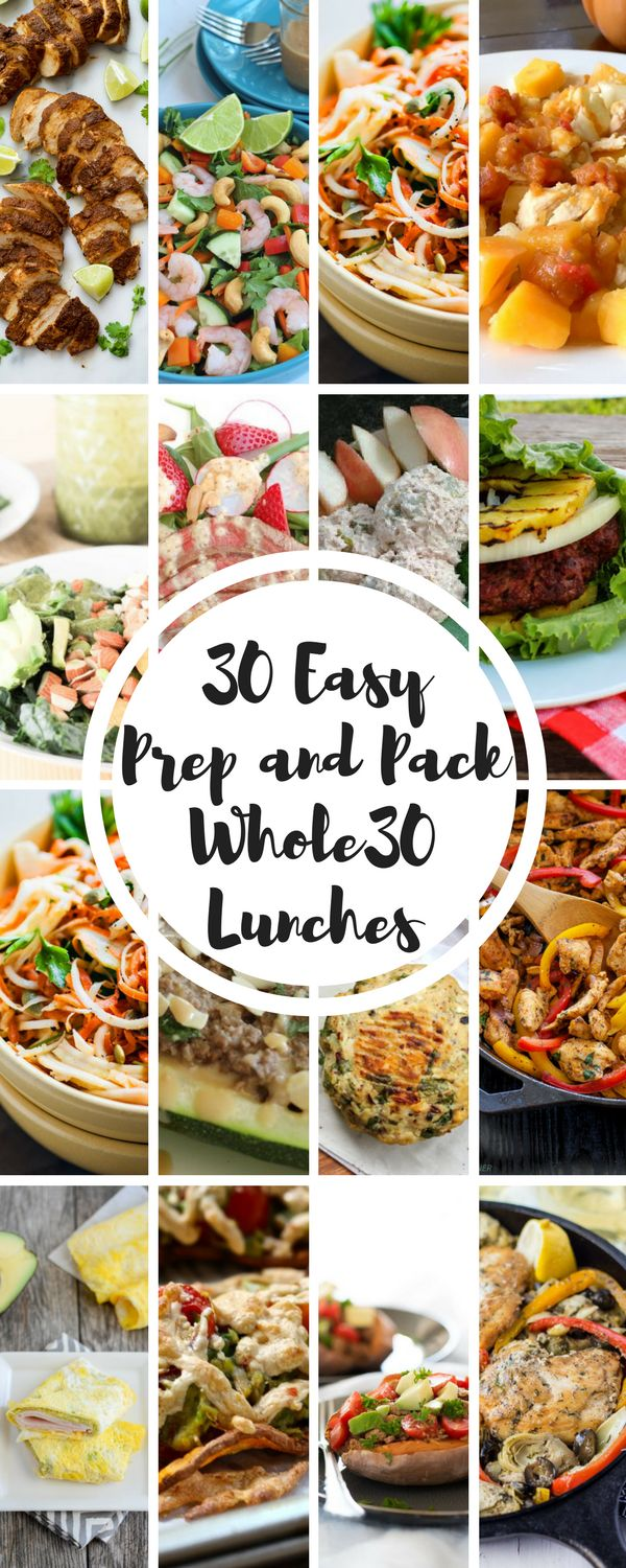 30 Easy Prep and Pack Whole30 Lunch Recipes. An entire month of easy to prepare and pack Whole 30 lunch recipes. Gluten-free, paleo, dairy-free, soy-free, grain-free, clean.
