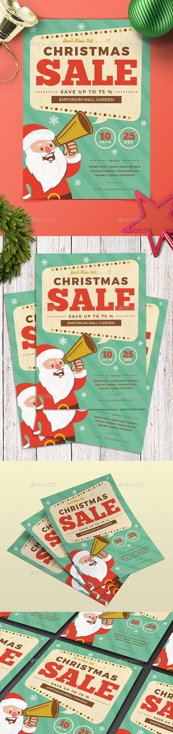 Retro Christmas Sale — Photoshop PSD #flyer template #newyear • Download ➝ https://graphicriver.net/item/retro-christmas-sale/19078167?ref=pxcr