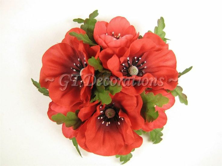 Set of 6 Artificial Silk Flower Red Poppy Candle Rings