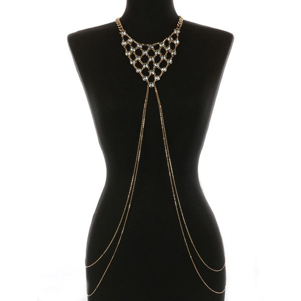 LAYERED CRYSTAL STONE BIB NECKLACE AND  BODY CHAIN (545 ARS) ❤ liked on Polyvore featuring jewelry, necklaces, crystal necklace, multi layer chain necklace, chain necklaces, long bib necklace and long fringe necklace