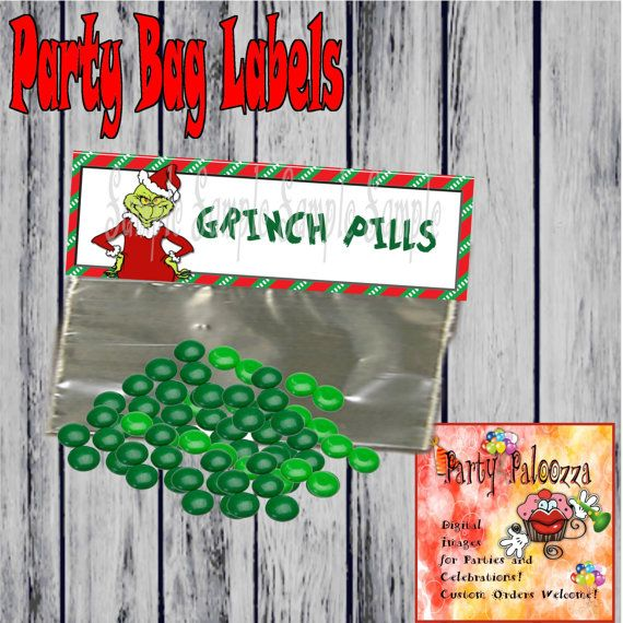 Printable Grinch Pill Bag Topper/Party favor by PartyPaloozza