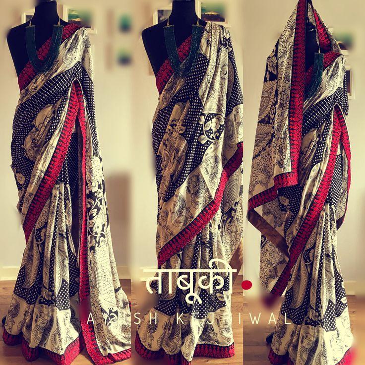 Kalamkari Saree by Ayush Kejriwal For purchase enquires email me at ayushk@hotmail.co.uk or whats app me on 00447840384707. We ship WORLDWIDE. Instagram - designerayushkejriwal