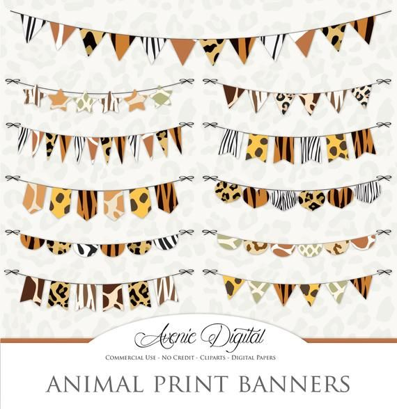 Pin By Christina Dickinson On Crafts Zoo Jungle Banner Clip Art Scrapbook Printables Animal Print Banners