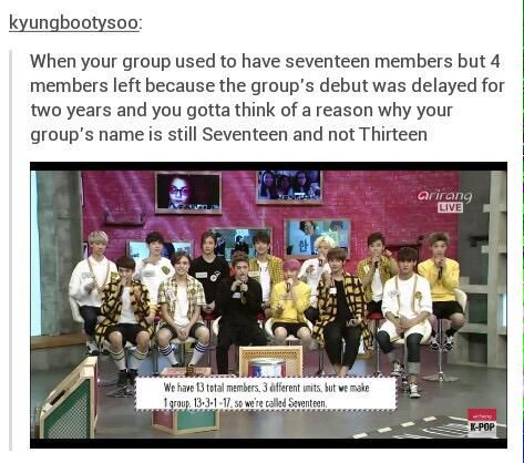 Seventeen- you know a fandom is settled when it starts teasing the group