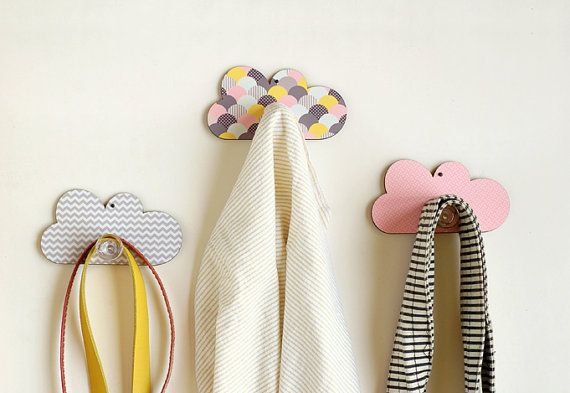 Set of Three Cloud Wall Hooks -  Nursery Wall  Decorative Hanger Children Room Home Décor