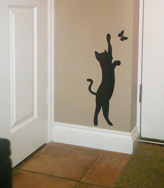 Anyone like this? I can make this any size for you. Cat and butterfly wall art sticker / Decal