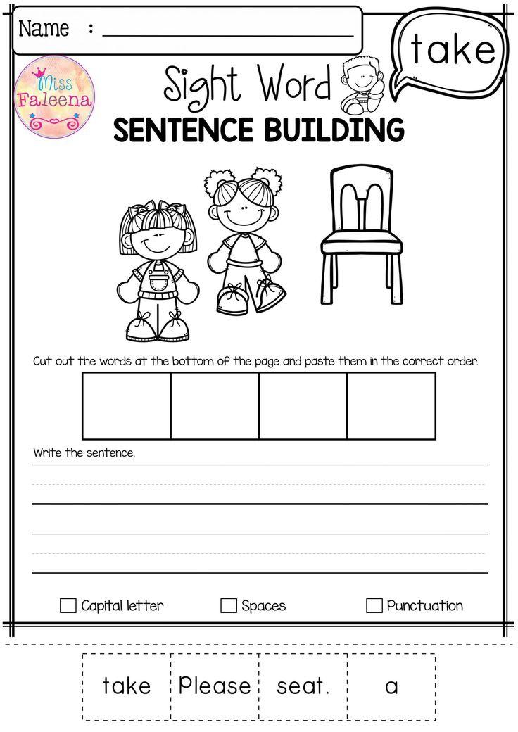 Sentence Building Worksheets for Kindergarten in 2020