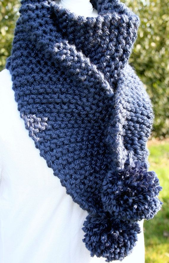 SCIARPA LUNGA  lana grossa maglia chunky blue detroit di AloneMavi