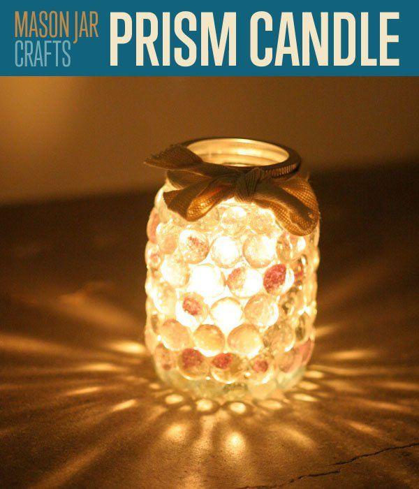 Mason Jar Crafts | Prism Jar Candle Light