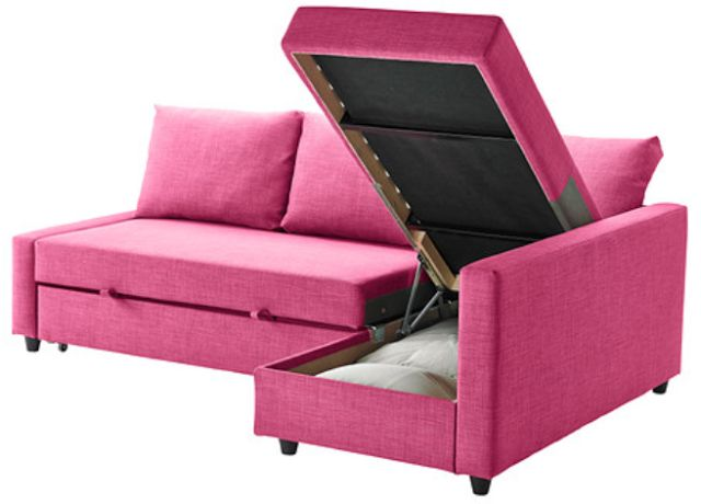 IKEA always has the most ingenious furniture solutions for small spaces such as their new FRIHETEN corner sofa-bed. It can be used as a sofa with chaise, with a large storage space under the chaise lounge.   And the sofa easily converts into a bed. In this fun pink color, it would be perfect in a teen bedroom or hangout space!