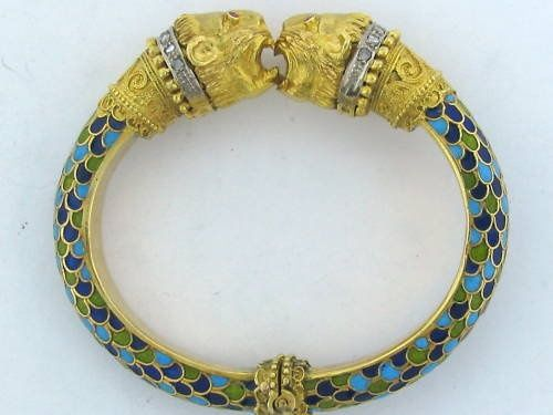 zolotas jewelry athens | Vintage Zolotas 18k Gold Diamond Enamel Bangle Bracelet