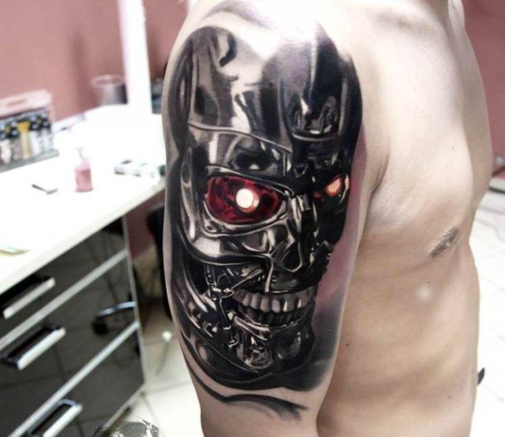 Terminator Head tattoo by Jakub Hanus