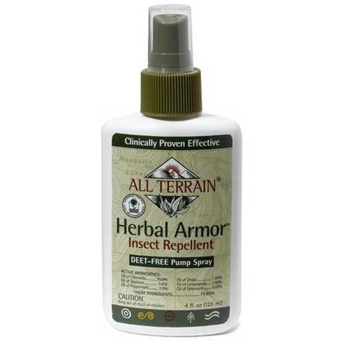 "Herbal Armor Insect Repellent. Has been awarded ""Most Effective"" by National Geographic. Look for other products with these ingredients:   Oil of Citronella....12%  Oil of Peppermint....2%  Oil of Cedar....1.5%  Oil of Lemongrass....1%  Oil of Germanium.....0.05%  Inert Ingredients....83.45%: Water, Beeswax, Soybean Oil, Vegetable Glycerin, Sorbitol, Potassium Sorbate, Citric Acid, Vitamin C & E."