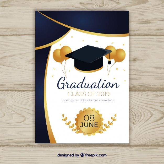 Graduation Invitation Template With Flat Design Graduation Invitations Template Graduation Party Invitations Templates Graduation Invitations