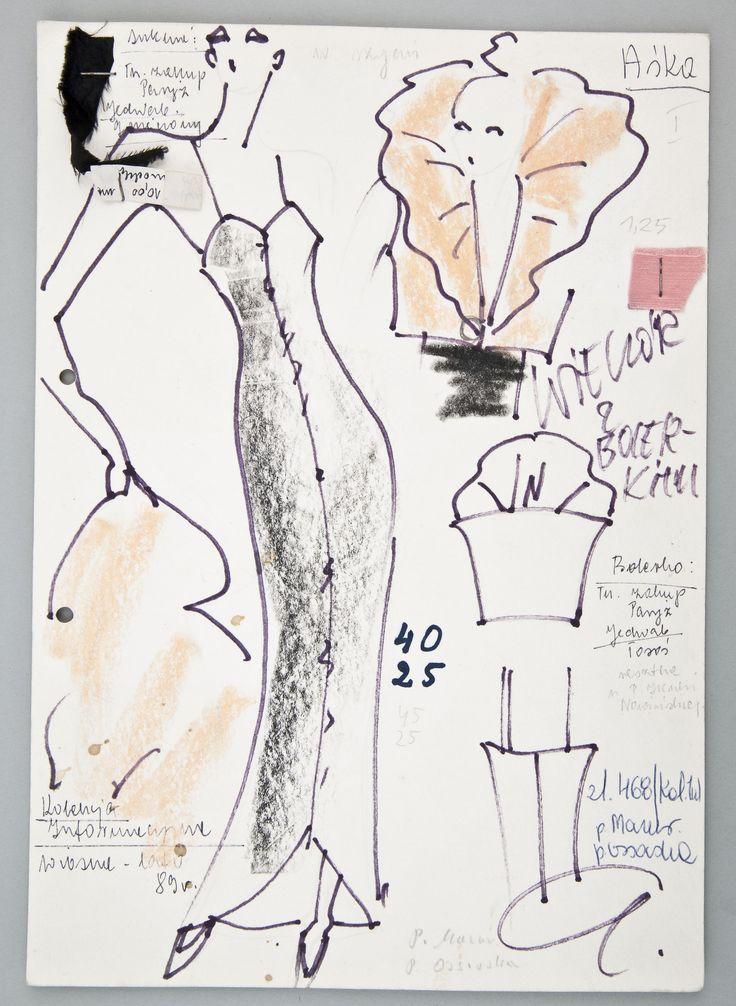 """Jerzy Antkowiak, """"Moda Polska"""", Projekt sukni wieczorowej, 1989, wł. MNK #PRL #Moda Polska #Polish fashion #Jerzy Antkowiak"""