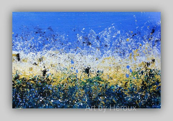 Pintura azul grande arte de la gran pared abstracta pintura