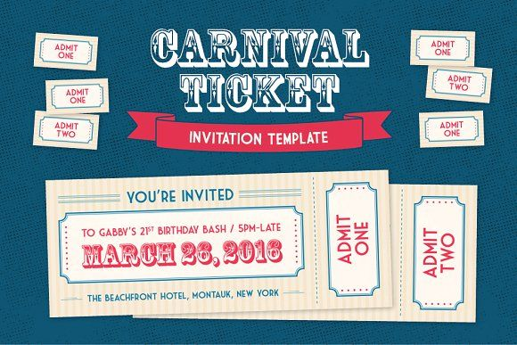 Carnival Ticket Invitation Template by Polkadot Stationery on @creativemarket