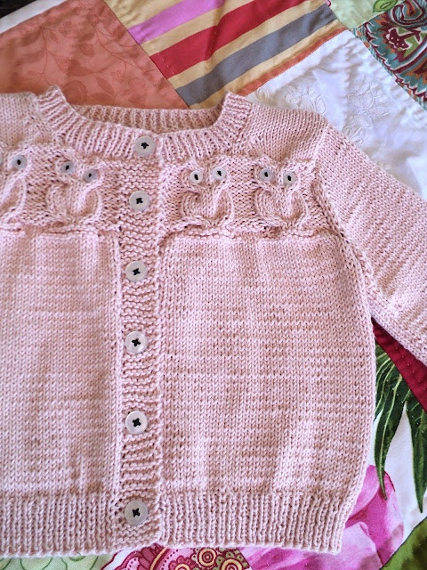 Knitionary: Pink Baby Owley Cardigan and Quilt