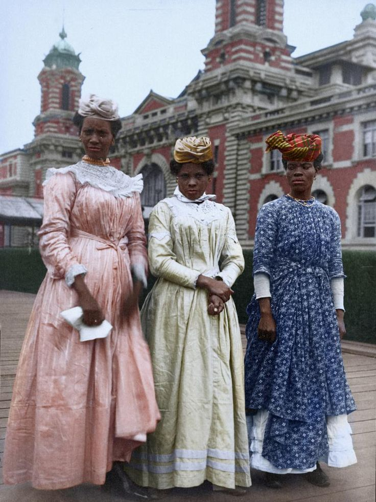 Portrait of three woman from Guadeloupe at the Ellis Island Immigration Station, 1911. Photo colorization by Sanna Dullaway for TIME / original image: The New York Public Library