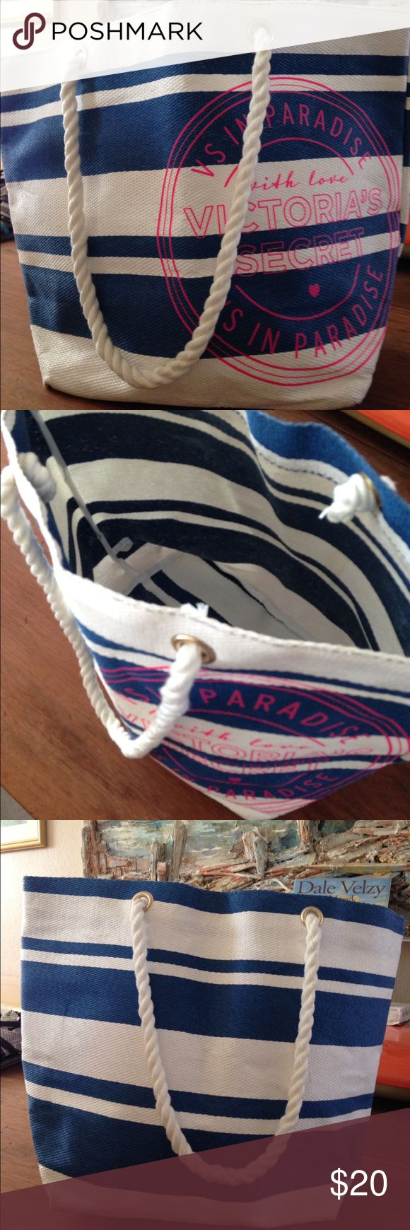 Vitoria secret Blue and white nautical fun Victoria secret bag . Great for all occasions.  Used but looks brand new! Bags